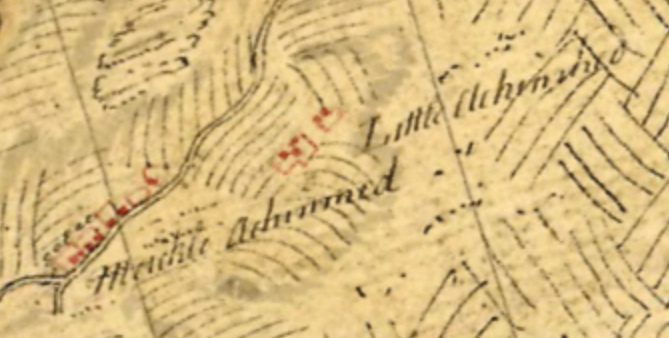 Map 2. Meickle Achinmed and Little Achinmed, Ayrshire: Roy Military Survey of Scotland, 1747-55. Reproduced with the permission of the National Library of Scotland