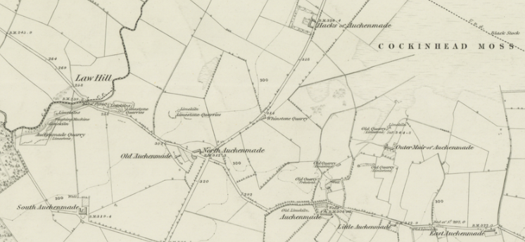Map 3. The agrarian unit at Auchenmade: Ayrshire, Sheet XII (includes: Stewarton; Kilwinning), survey date: 1856, publication date: 1858. Reproduced with the permission of the National Library of Scotland