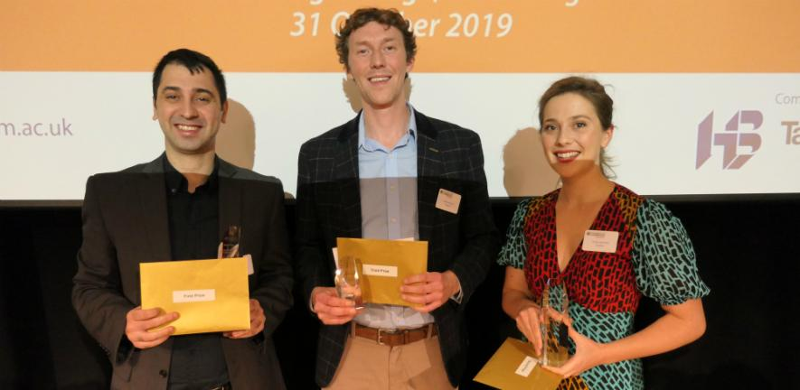 2019 Postdoc Business Plan Competition winners: Simon Baker of Versed AI and project leads from Univursa and Cambridge Bioelectronics