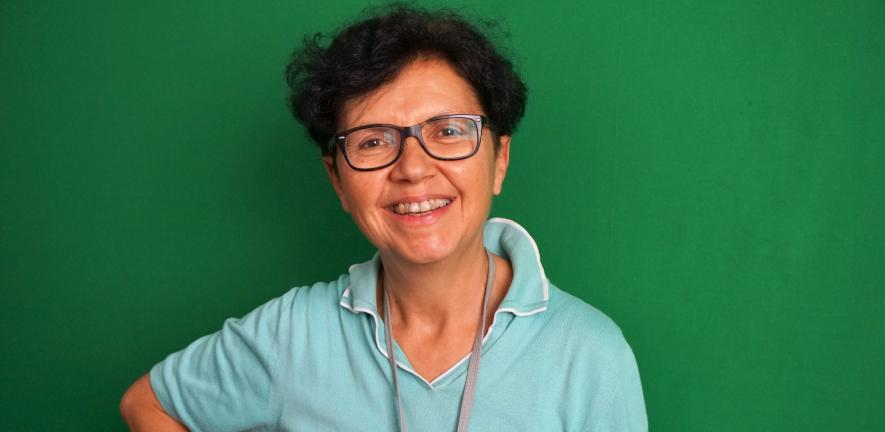 Portrait of Maria Teresa Guasti on green background