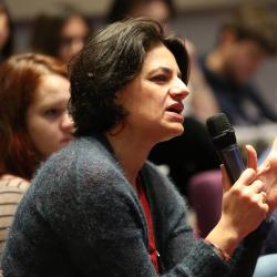 Dr Dora Alexopoulou asking a question at the Cambridge Language Sciences symposium November 2019