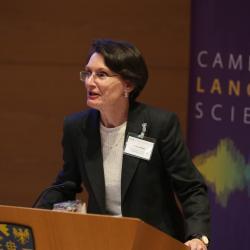 Dr Laura Wright chairing the Cambridge Language Sciences Annual Symposium 2019