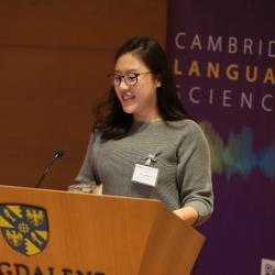Joyce Lim introducing the poster slam Cambridge Language Sciences Annual Symposium 2019