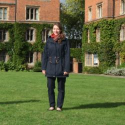Photo of Kirsty McDougall with PhD candidate Linda Gerlach in Selwyn College gardens